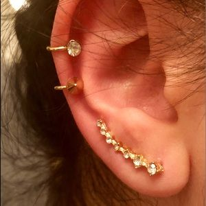 Jewelry - Silver or Gold and rhinestone ear crawlers